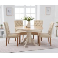 Product photograph showing Epsom 120cm Oak And Cream Round Pedestal Table With Candice Chairs