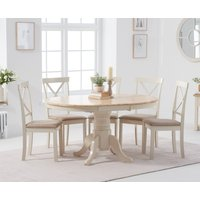 Product photograph showing Epsom Cream Pedestal Extending Dining Table With 6 Fabric Chairs