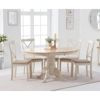 Product photograph showing Epsom Cream Pedestal Extending Table With Epsom Chairs With Cream Fabric Seats
