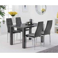 Atlanta 120cm Dark Grey High Gloss Dining Table with Melissa Velvet Chairs