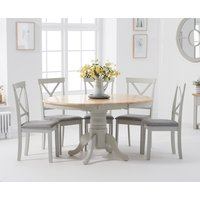 Product photograph showing Epsom Oak And Grey Pedestal Extending Dining Set With 6 Fabric Chairs