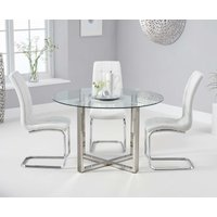 Product photograph showing Vidre 120cm Round Glass Dining Table With Lorin Chairs