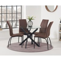 Montigue 100cm Round Glass Dining Table with Noir Fabric Chairs