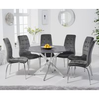 Casie 120cm Round Grey Marble Table with Calgary Velvet Chairs