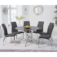 Casie 120cm Round Grey Marble Table with Cavello Chairs