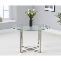 Product photograph showing Vidre 120cm Round Glass Dining Table