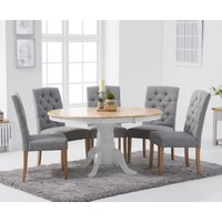 Product photograph showing Epsom Oak And White Pedestal Extending Dining Table With Candice Grey Fabric Chairs