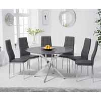 Casie 120cm Round Grey Marble Table with Cassa Chairs