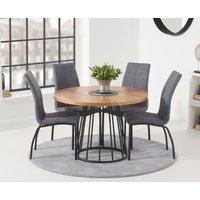 Highbury 110cm Round Dining Table with Noir Fabric Dining
