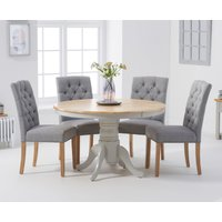 Product photograph showing Epsom 120cm Oak And Grey Round Pedestal Table With Candice Chairs