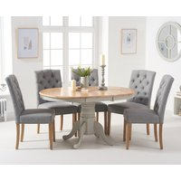 Epsom Oak and Grey Pedestal Extending Dining Table with