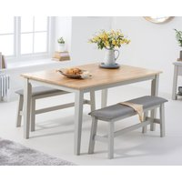 Product photograph showing Chiltern 150cm Oak And Grey Dining Table Set With Fabric Benches