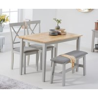 Read more about Chiltern 114cm oak and grey table with 2 epsom chairs with grey fabric seats and 1 bench