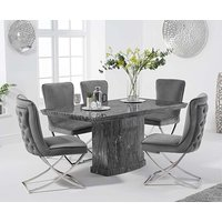Product photograph showing Carvelle 160cm Grey Pedestal Marble Dining Table With Giovanni Velvet Chairs