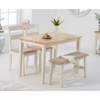Chiltern 114cm Oak and Cream Table with Chiltern Chairs with Cream Fabric Seats and Bench