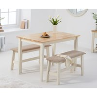 Product photograph showing Chiltern 114cm Oak And Cream Table With Fabric Benches