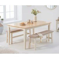 Product photograph showing Chiltern 150cm Oak And Cream Dining Table Set With Fabric Benches
