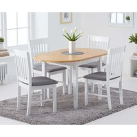 Product photograph showing Amalfi Oak And White Extending Table With Chairs With Fabric Seats