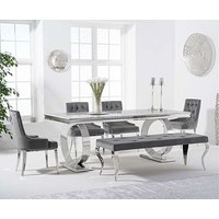 Hyde 200cm Marble Dining Table with Talia Velvet Chairs and Fairmont Bench