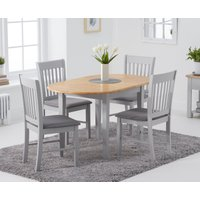 Product photograph showing Amalfi Oak And Grey Extending Table With Chairs With Fabric Seats