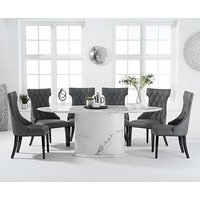 Coloseum 200cm Oval Grey Marble Dining Table with Freya Chairs