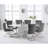 Coloseum 200cm Oval White Marble Dining Table with Giovanni Velvet Chairs