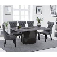 Product photograph showing Marly 180cm Light Grey Marble Dining Table With Freya Faux Leather Dining Chairs