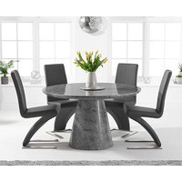 Romana 130cm Round Grey Marble Dining Table with Hampstead Z Chairs
