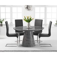 Romana 130cm Round Grey Marble Dining Table with Malaga Chairs
