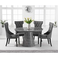 Romana 130cm Round Grey Marble Dining Table with Freya