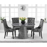 Romana 130cm Round Grey Marble Dining Table with Angelica Chairs
