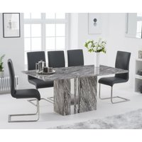 Product photograph showing Adi 180cm Grey Marble Dining Table With Malaga Chairs