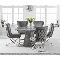 Romana 130cm Round Grey Marble Dining Table with Giovanni Velvet Chairs