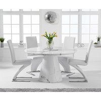Romana 130cm Round White Marble Dining Table with Hampstead