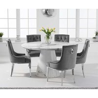 Romana 130cm Round White Marble Dining Table with Talia Velvet Chairs