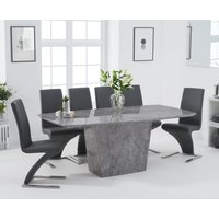Product photograph showing Foxwood 200cm Light Grey Marble Dining Table With Hampstead Z Chairs