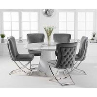 Romana 130cm Round White Marble Dining Table with Giovanni Velvet Chairs