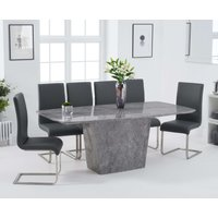 Product photograph showing Foxwood 200cm Light Grey Marble Dining Table With Malaga Chairs