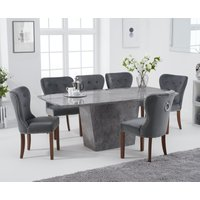 Product photograph showing Foxwood 200cm Light Grey Marble Dining Table With Knightsbridge Grey Plush Chairs