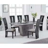 Product photograph showing Foxwood 200cm Light Grey Marble Dining Table With Verbier Chairs