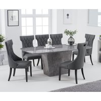 Foxwood 200cm Grey Marble Dining Table with Freya Chairs