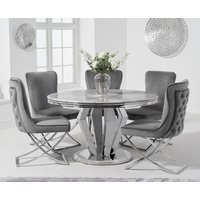 Veneziana 130cm Round Marble Dining Table with Giovanni Velvet Chairs