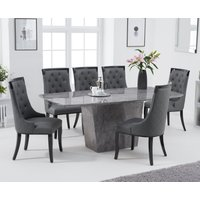 Product photograph showing Foxwood 200cm Light Grey Marble Dining Table With Angelica Chairs