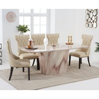 Product photograph showing Foxwood 200cm Brown Marble Dining Table With Freya Chairs