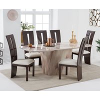 Product photograph showing Foxwood 200cm Brown Marble Dining Table With Verbier Chairs