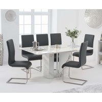 Product photograph showing Adi 180cm White Marble Dining Table With Malaga Chairs