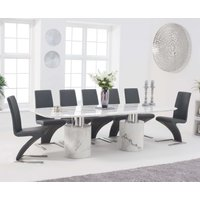 Product photograph showing Alona 260cm White Marble Dining Table With Hampstead Z Chairs