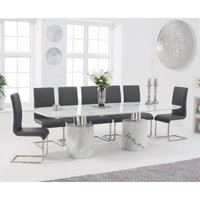 Alona 260cm White Marble Dining Table with Freya Chairs