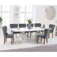 Product photograph showing Alona 260cm White Marble Dining Table With Knightsbridge Chairs