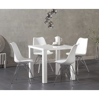 Read more about Atlanta 80cm white high gloss dining table with calvin chrome leg chairs